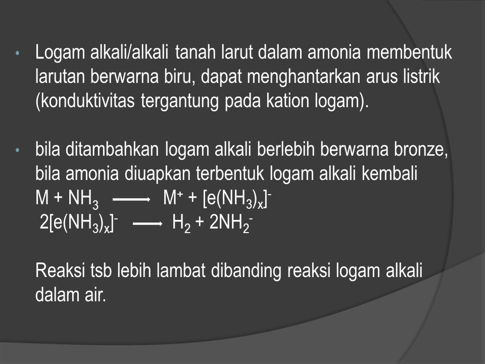 Logam alkali/alkali tanah larut dalam amonia membentuk larutan berwarna biru, dapat menghantarkan arus listrik (konduktivitas tergantung pada kation logam).