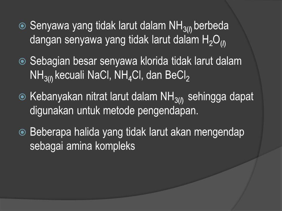 Senyawa yang tidak larut dalam NH3(l) berbeda dangan senyawa yang tidak larut dalam H2O(l)