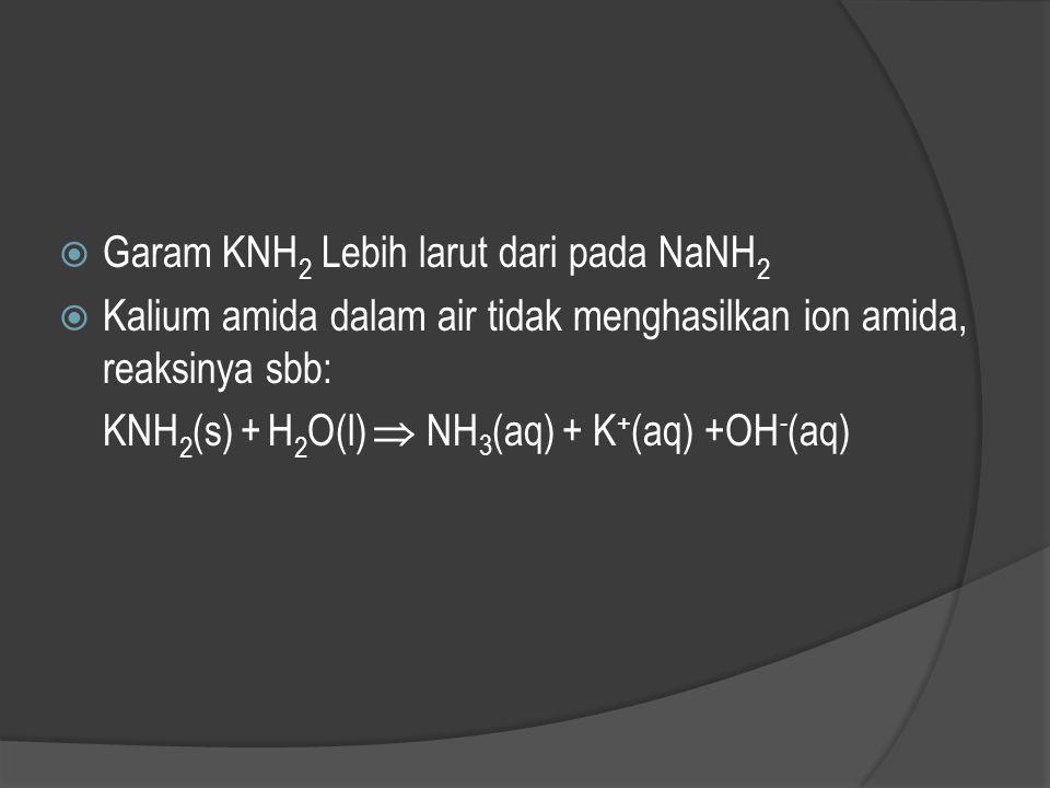 Garam KNH2 Lebih larut dari pada NaNH2