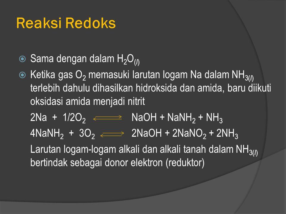 Reaksi Redoks Sama dengan dalam H2O(l)