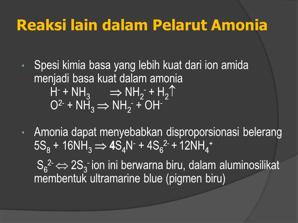 Reaksi lain dalam Pelarut Amonia