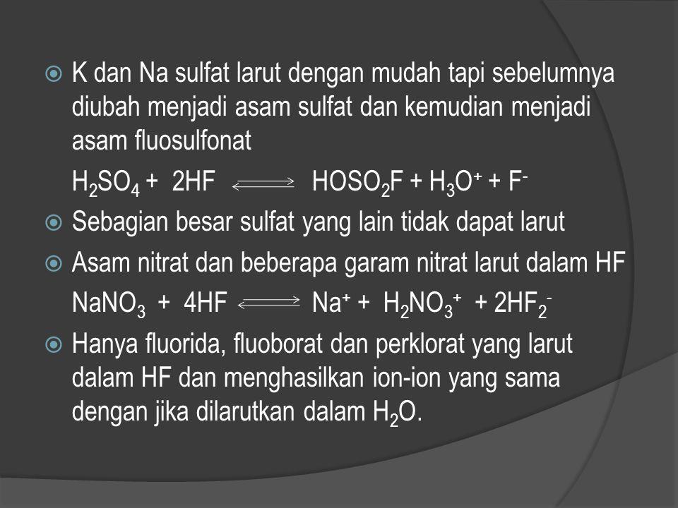 K dan Na sulfat larut dengan mudah tapi sebelumnya diubah menjadi asam sulfat dan kemudian menjadi asam fluosulfonat