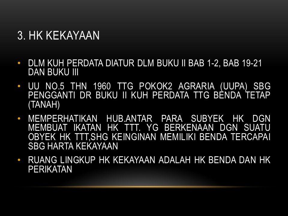 3. HK KEKAYAAN DLM KUH PERDATA DIATUR DLM BUKU II BAB 1-2, BAB 19-21 DAN BUKU III.