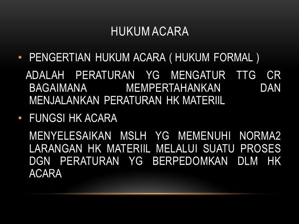 HUKUM ACARA PENGERTIAN HUKUM ACARA ( HUKUM FORMAL )