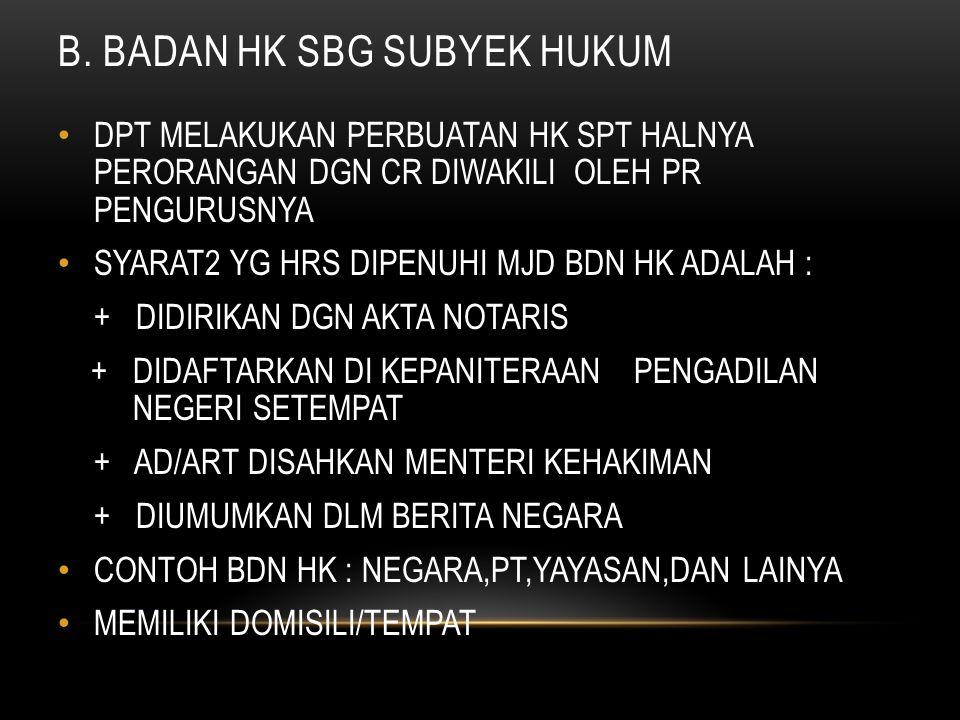 B. BADAN HK SBG SUBYEK HUKUM