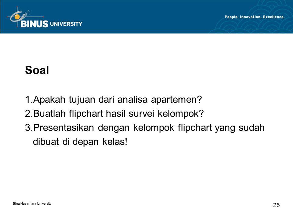 Soal Apakah tujuan dari analisa apartemen