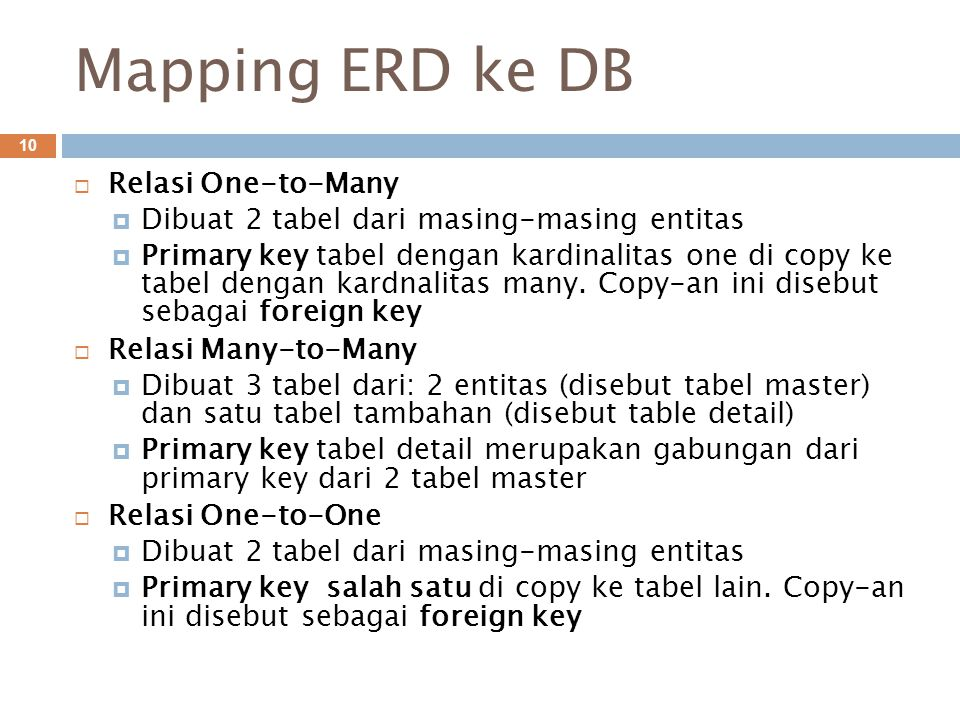 Mapping ERD ke DB Relasi One-to-Many