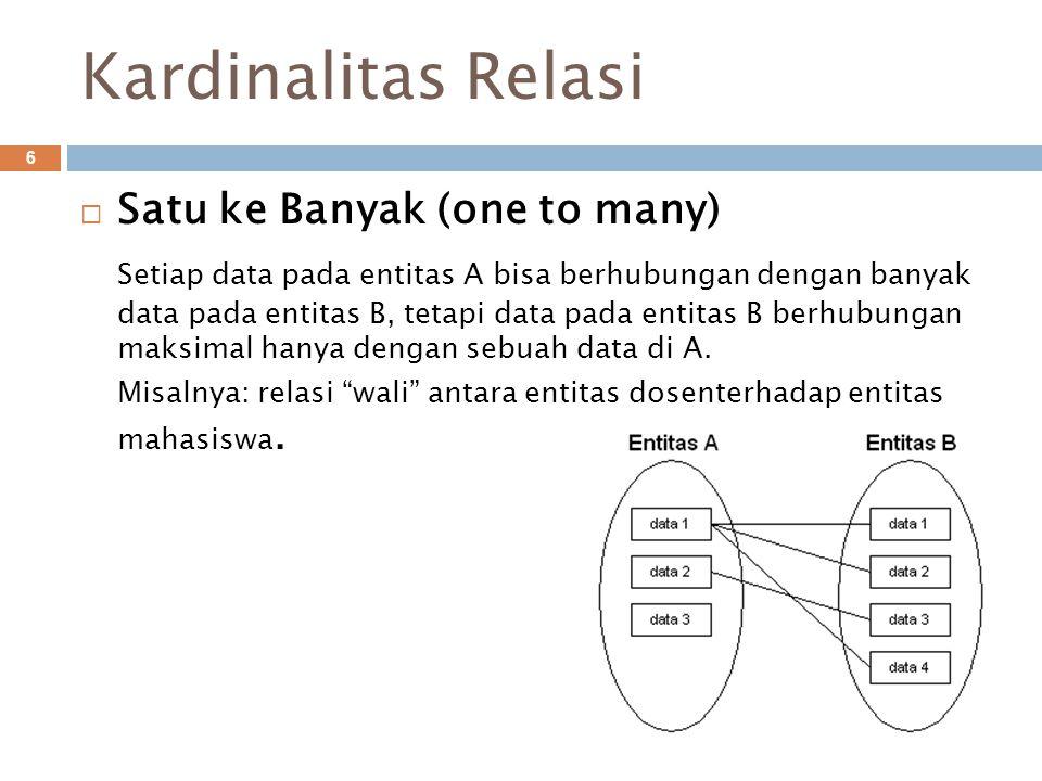 Kardinalitas Relasi Satu ke Banyak (one to many)