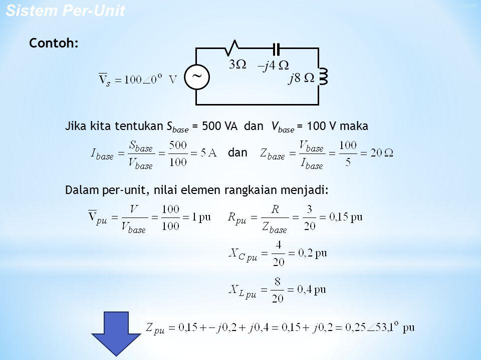  Sistem Per-Unit Contoh: 3 j4  j8 