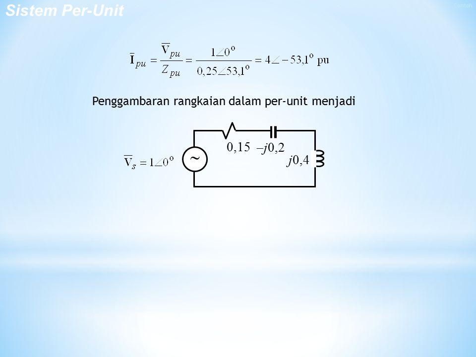Sistem Per-Unit Contoh Penggambaran rangkaian dalam per-unit menjadi 0,15 j0,2 j0,4 