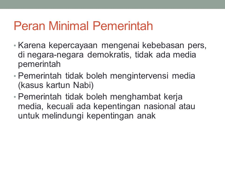 Peran Minimal Pemerintah