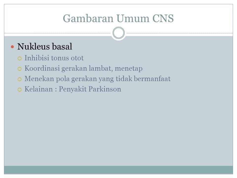 Gambaran Umum CNS Nukleus basal Inhibisi tonus otot