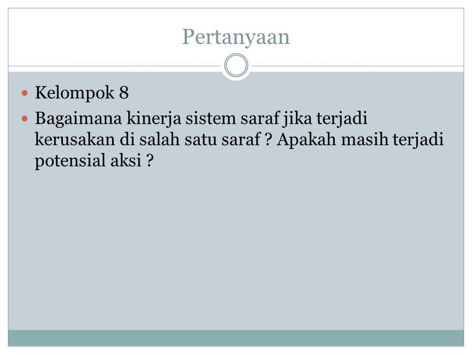 Pertanyaan Kelompok 8. Bagaimana kinerja sistem saraf jika terjadi kerusakan di salah satu saraf .
