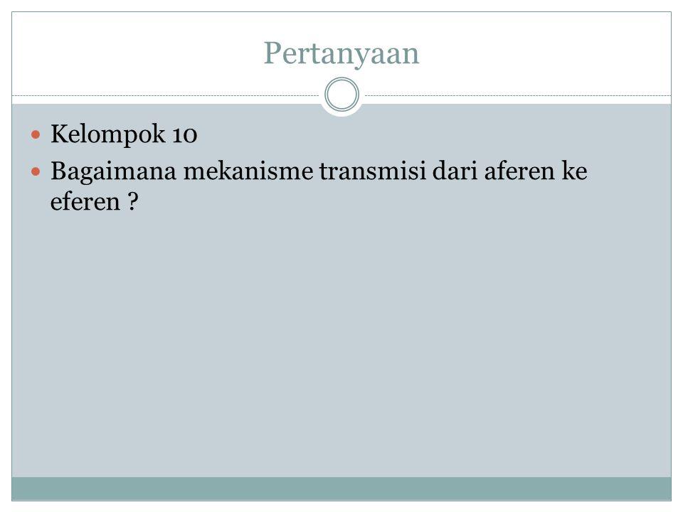 Pertanyaan Kelompok 10 Bagaimana mekanisme transmisi dari aferen ke eferen