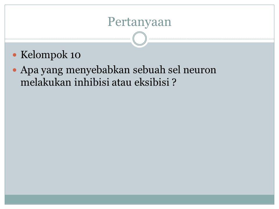 Pertanyaan Kelompok 10 Apa yang menyebabkan sebuah sel neuron melakukan inhibisi atau eksibisi