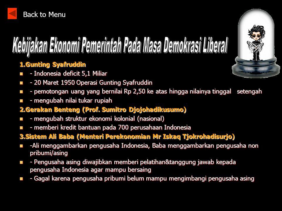 Kebijakan Ekonomi Pemerintah Pada Masa Demokrasi Liberal