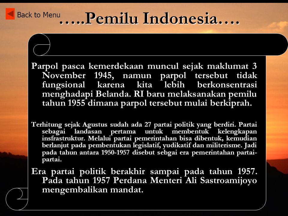 …..Pemilu Indonesia…. Back to Menu.