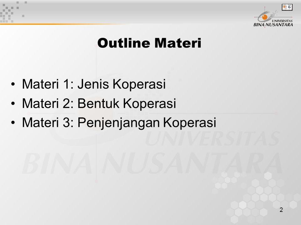 Outline Materi Materi 1: Jenis Koperasi Materi 2: Bentuk Koperasi Materi 3: Penjenjangan Koperasi