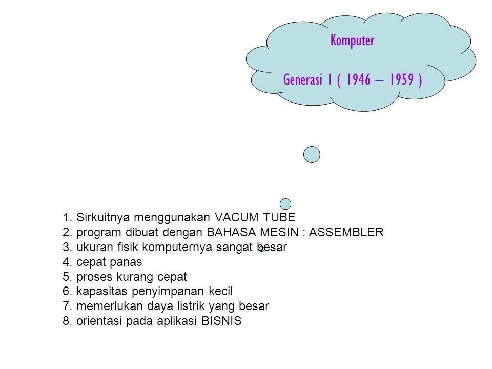 Komputer Generasi I ( 1946 – 1959 )