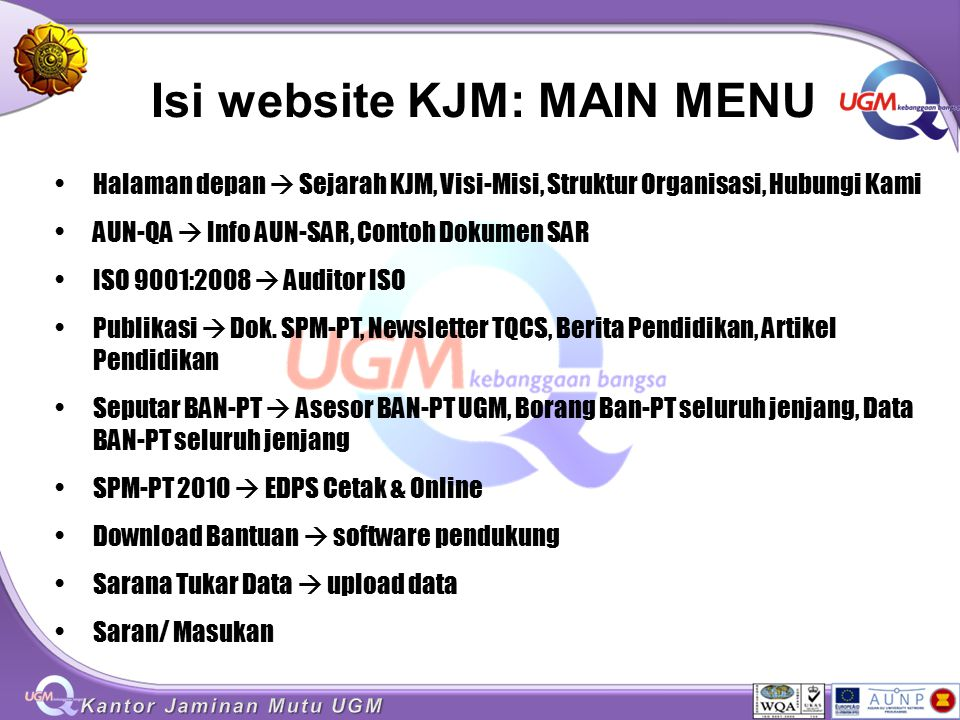Isi website KJM: MAIN MENU