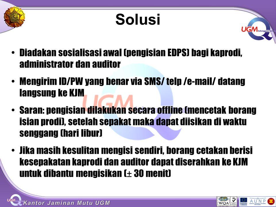 Solusi Diadakan sosialisasi awal (pengisian EDPS) bagi kaprodi, administrator dan auditor.