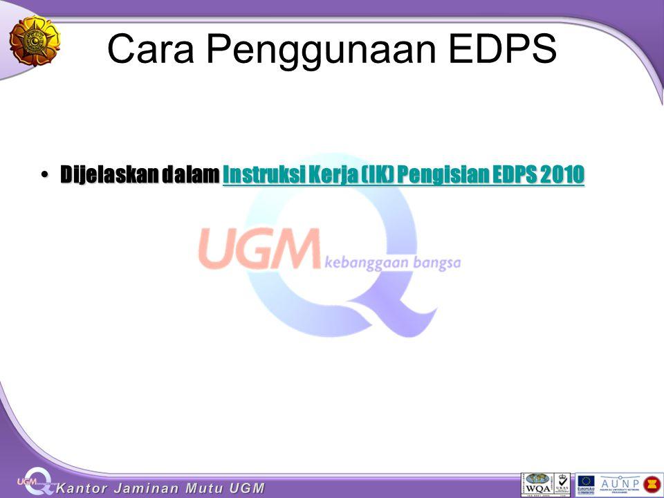 Cara Penggunaan EDPS Dijelaskan dalam Instruksi Kerja (IK) Pengisian EDPS 2010