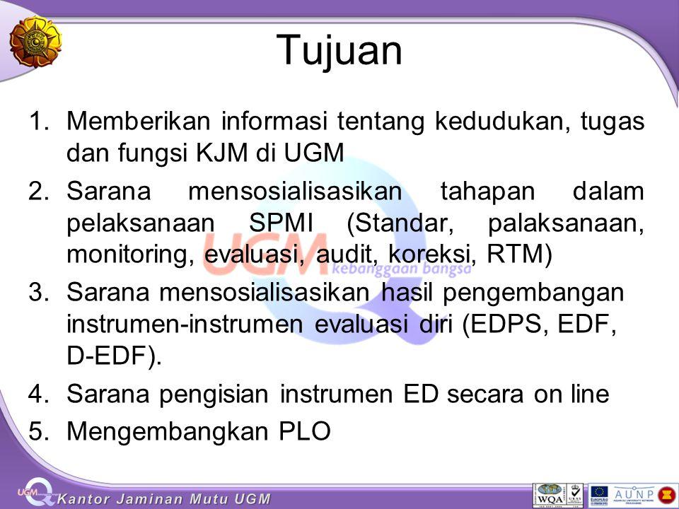 Tujuan Memberikan informasi tentang kedudukan, tugas dan fungsi KJM di UGM.
