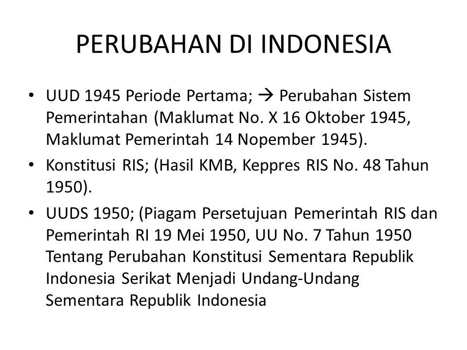 PERUBAHAN DI INDONESIA