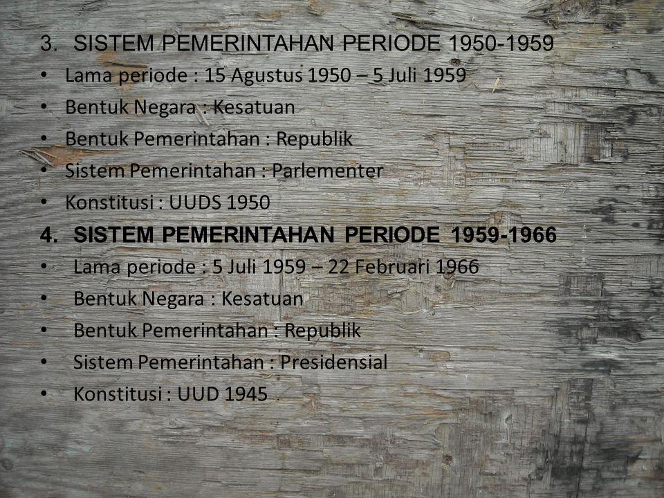 SISTEM PEMERINTAHAN PERIODE 1950-1959