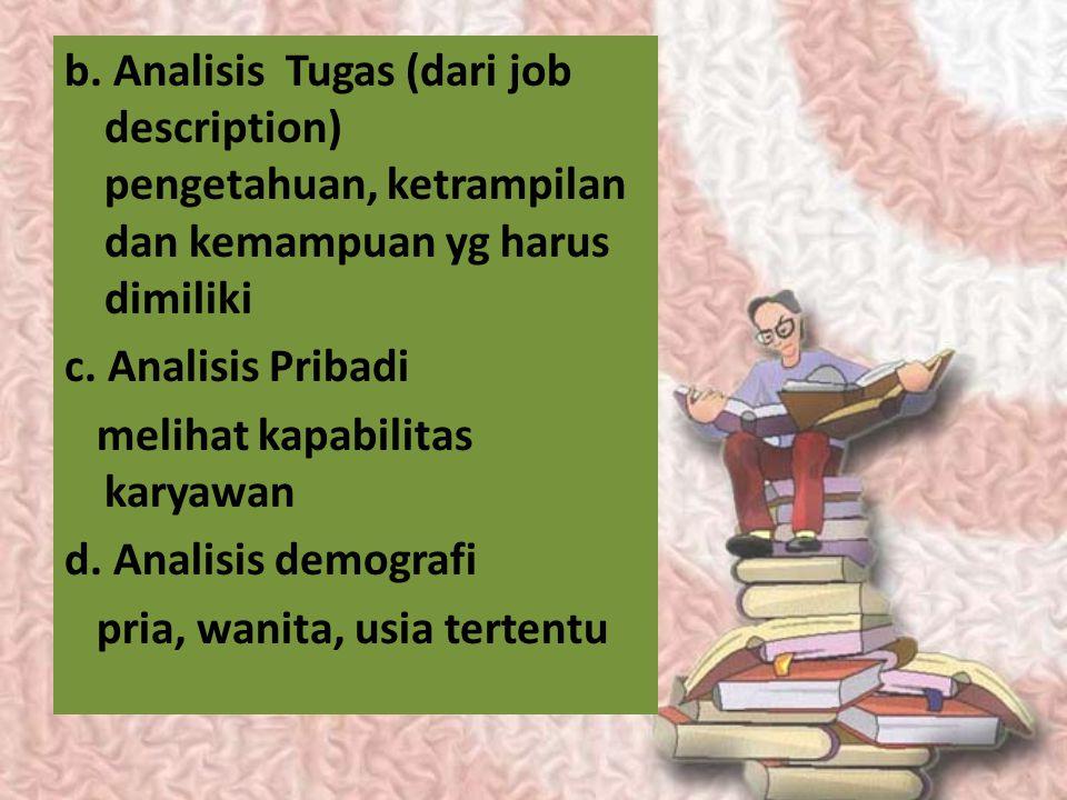 b. Analisis Tugas (dari job description) pengetahuan, ketrampilan dan kemampuan yg harus dimiliki