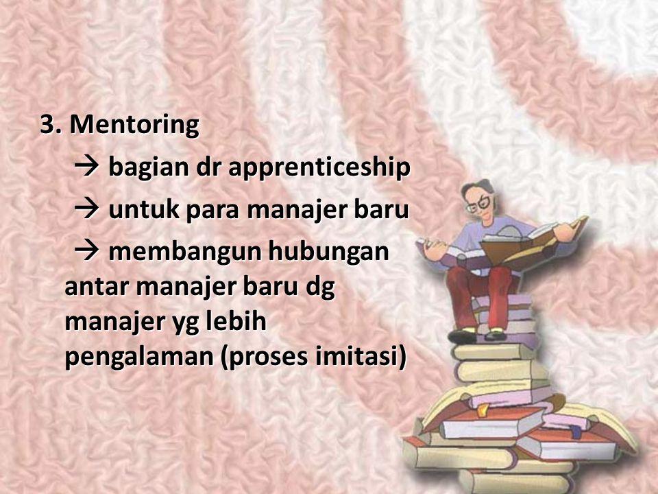 3. Mentoring  bagian dr apprenticeship.  untuk para manajer baru.