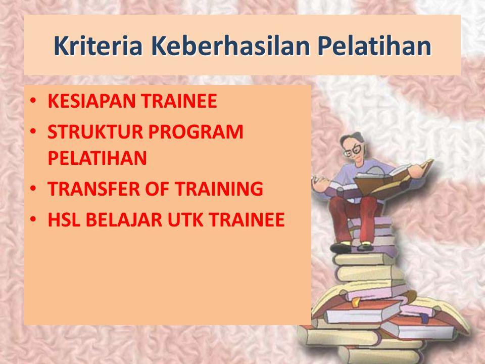 Kriteria Keberhasilan Pelatihan