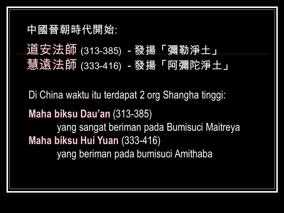 道安法師 (313-385) - 發揚「彌勒淨土」 慧遠法師 (333-416) - 發揚「阿彌陀淨土」 中國晉朝時代開始:
