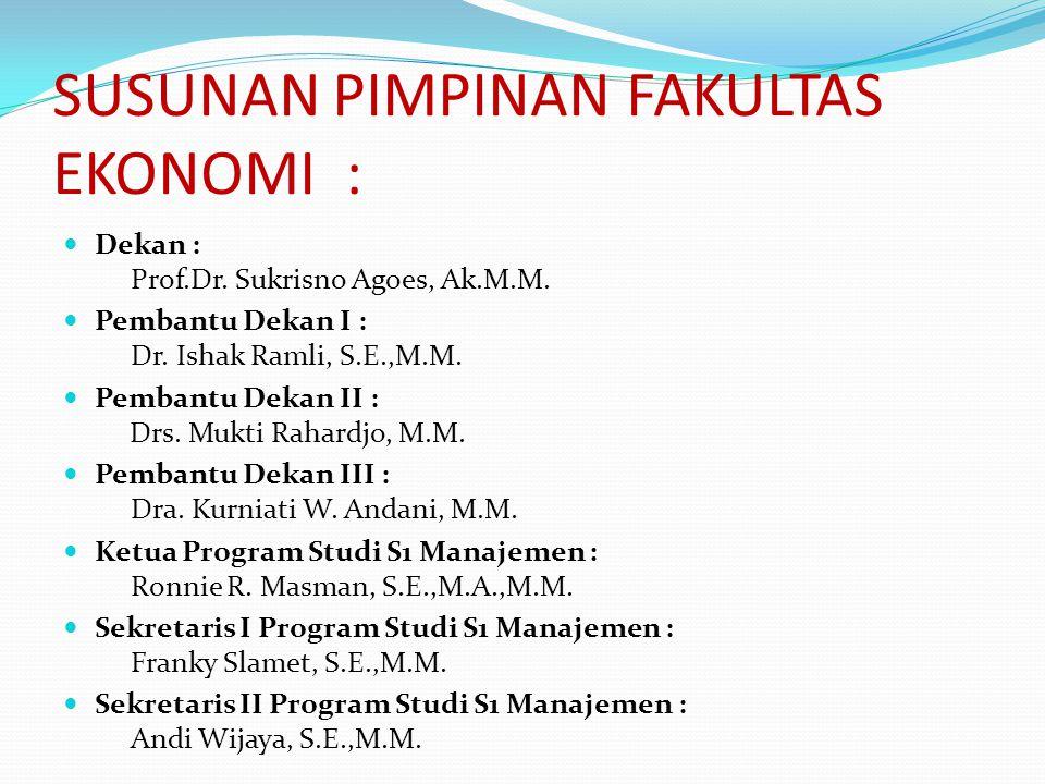 SUSUNAN PIMPINAN FAKULTAS EKONOMI :