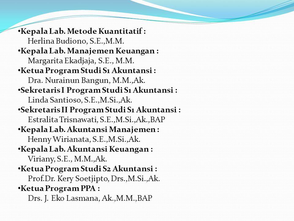 Kepala Lab. Metode Kuantitatif : Herlina Budiono, S.E.,M.M.