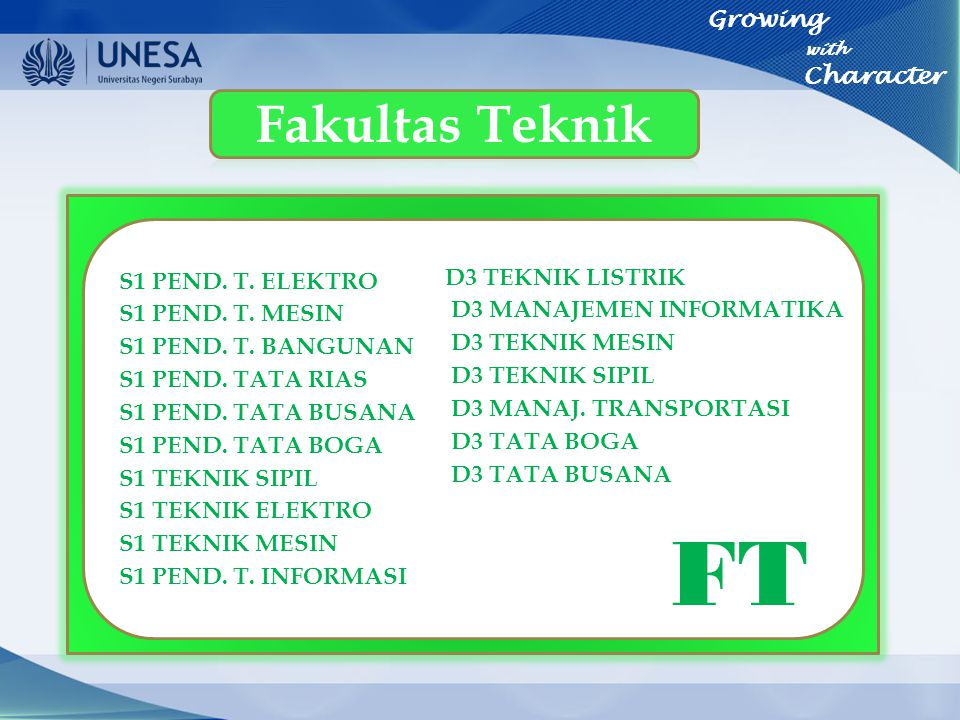 FT Fakultas Teknik Growing with Character S1 PEND. T. ELEKTRO