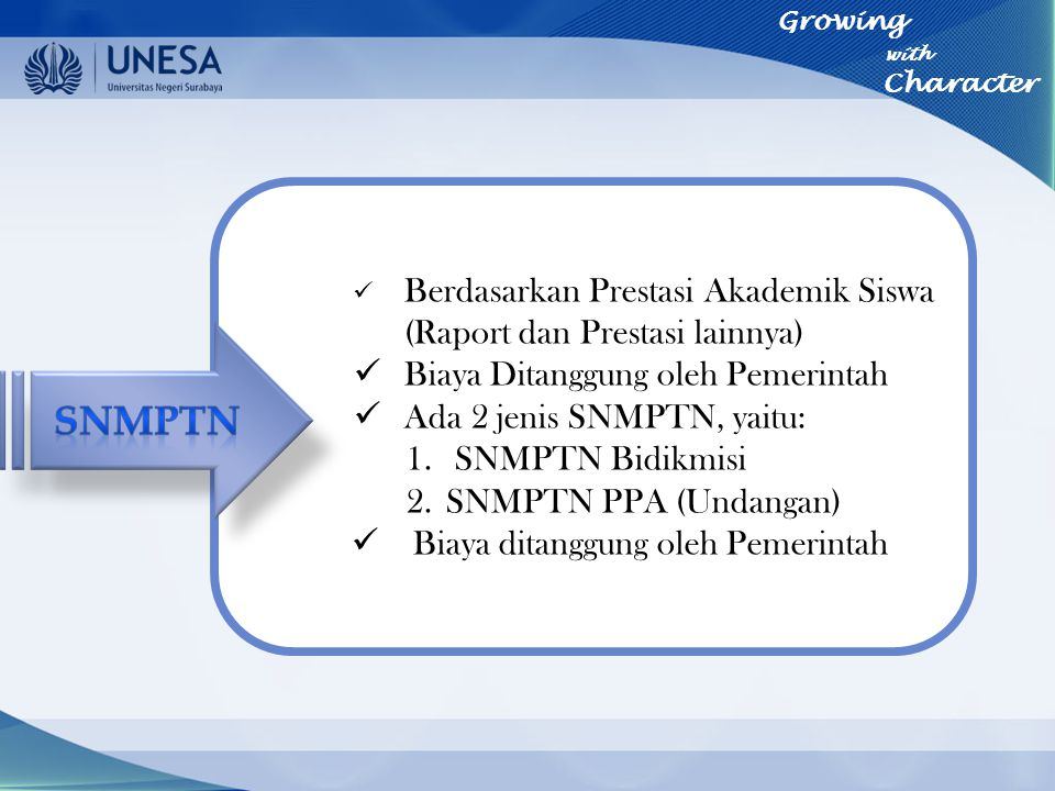 SNMPTN (Raport dan Prestasi lainnya) Biaya Ditanggung oleh Pemerintah