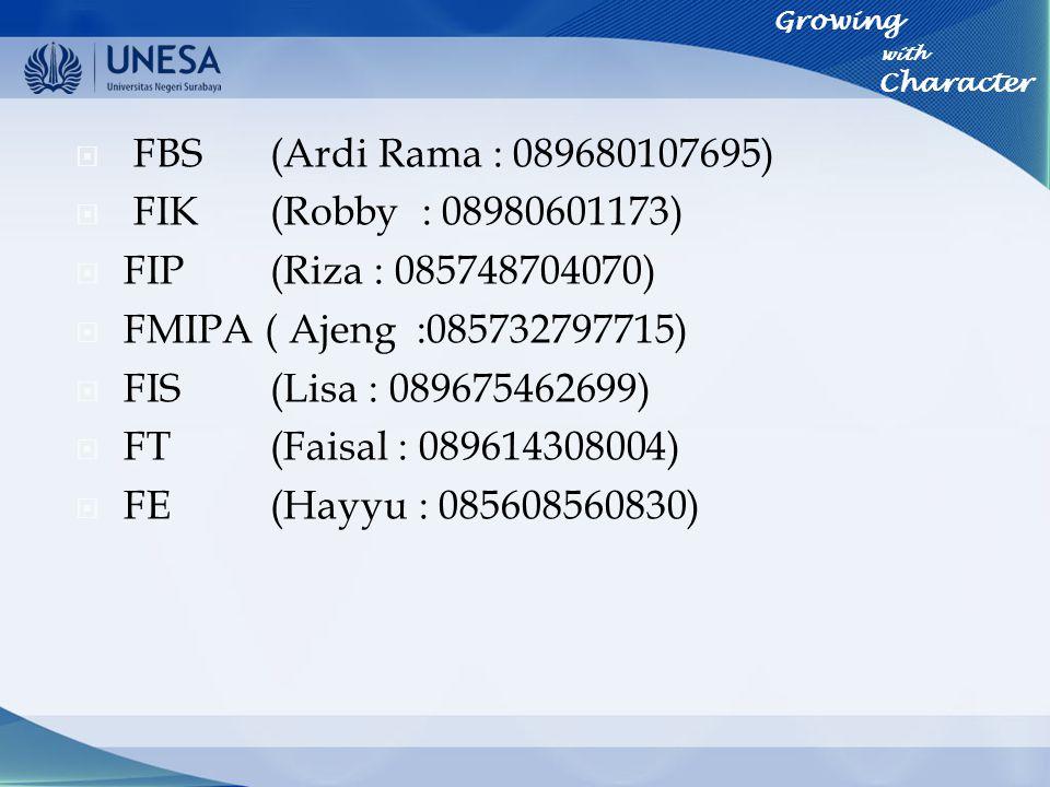 FBS (Ardi Rama : 089680107695) FIK (Robby : 08980601173)