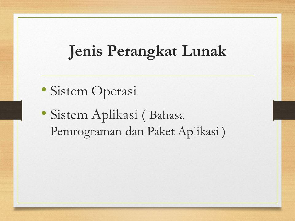 Jenis Perangkat Lunak Sistem Operasi