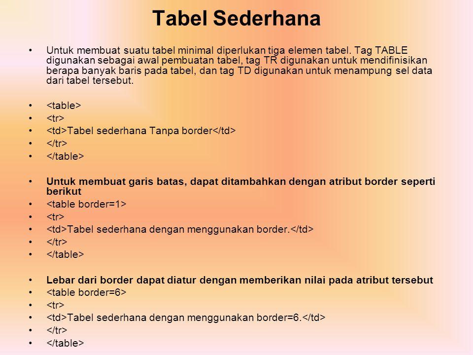 Tabel Sederhana