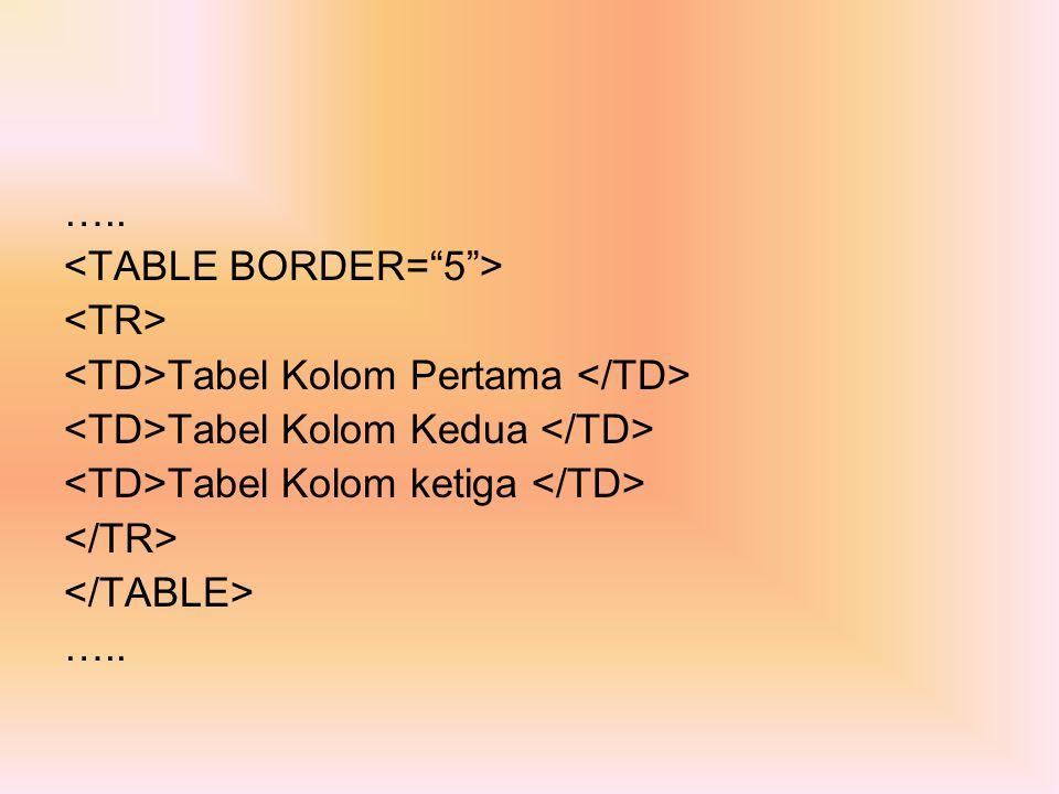 ….. <TABLE BORDER= 5 > <TR> <TD>Tabel Kolom Pertama </TD> <TD>Tabel Kolom Kedua </TD> <TD>Tabel Kolom ketiga </TD>