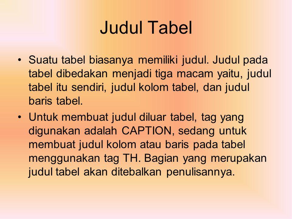 Judul Tabel