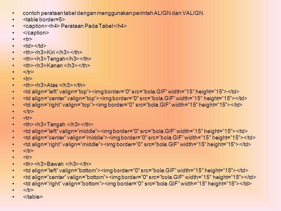 contoh perataan tabel dengan menggunakan perintah ALIGN dan VALIGN.