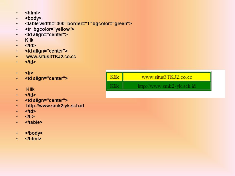 <html> <body> <table width= 300 border= 1 bgcolor= green > <tr bgcolor= yellow > <td align= center >