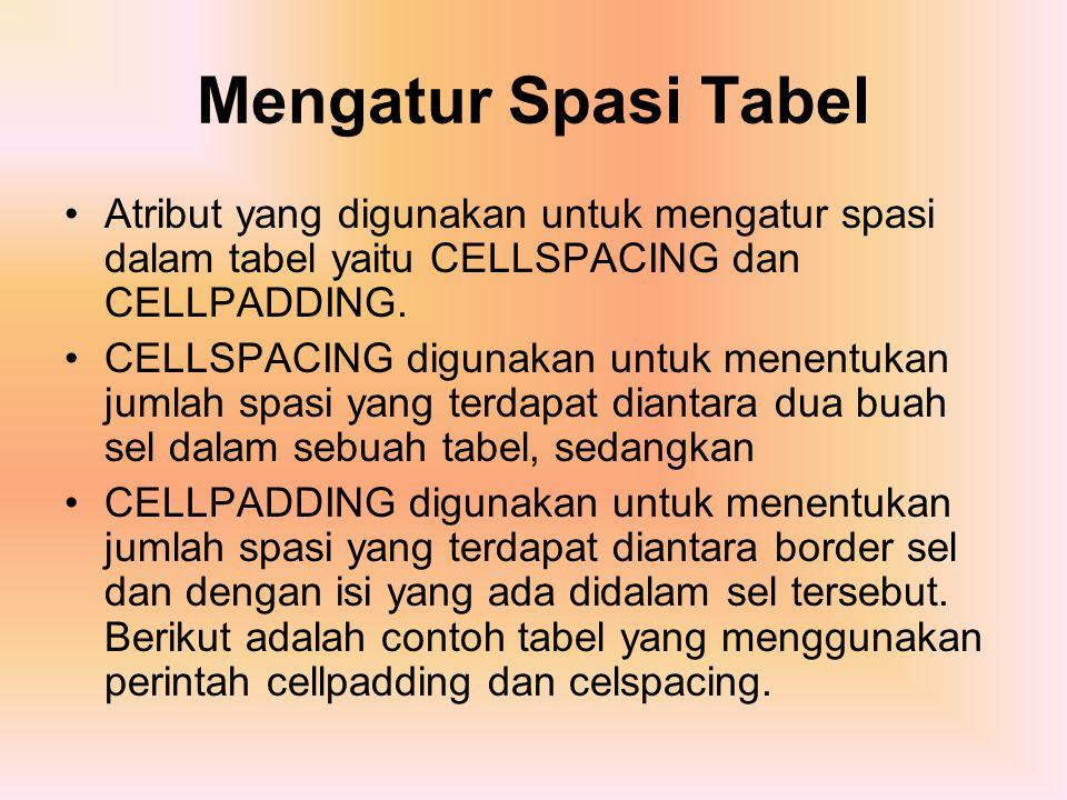 Mengatur Spasi Tabel Atribut yang digunakan untuk mengatur spasi dalam tabel yaitu CELLSPACING dan CELLPADDING.