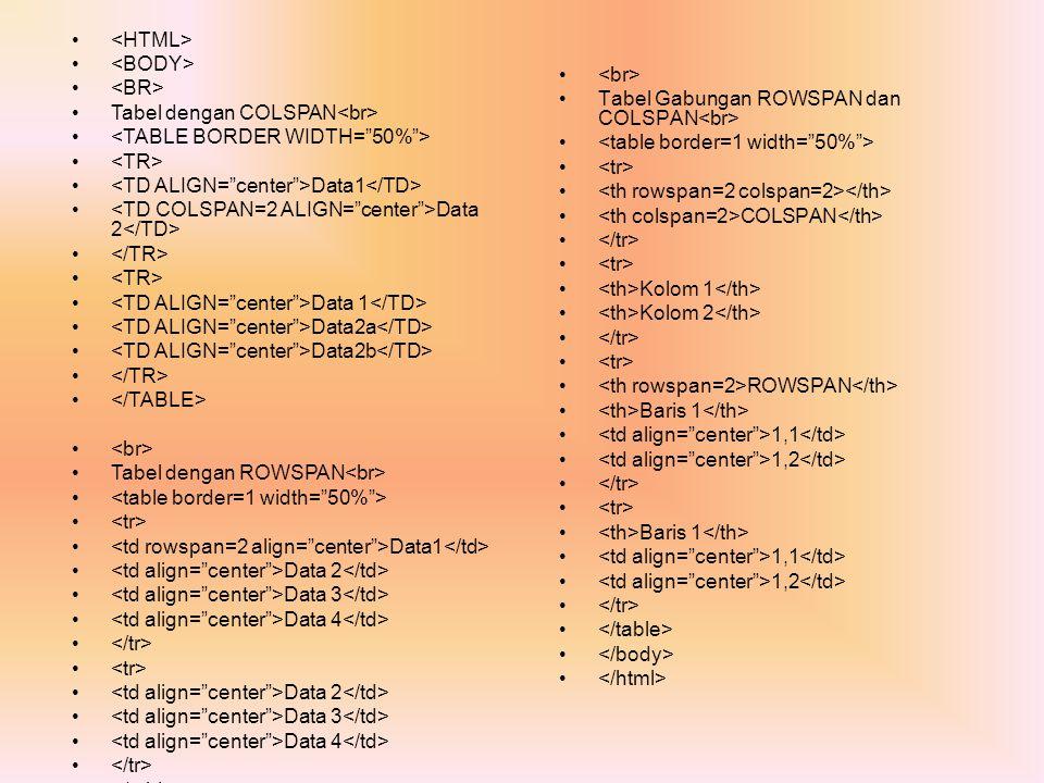 <HTML> <BODY> <BR> Tabel dengan COLSPAN<br> <TABLE BORDER WIDTH= 50% > <TR> <TD ALIGN= center >Data1</TD>