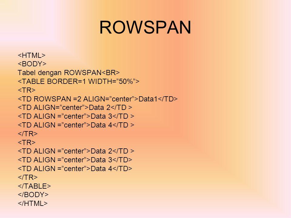 ROWSPAN <HTML> <BODY> Tabel dengan ROWSPAN<BR>