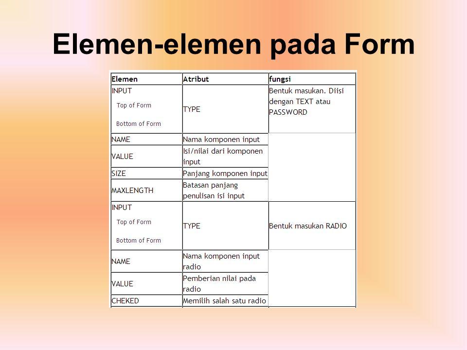 Elemen-elemen pada Form