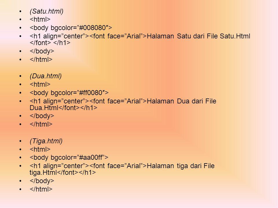 (Satu.html) <html> <body bgcolor= #008080″> <h1 align= center ><font face= Arial >Halaman Satu dari File Satu.Html </font> </h1>