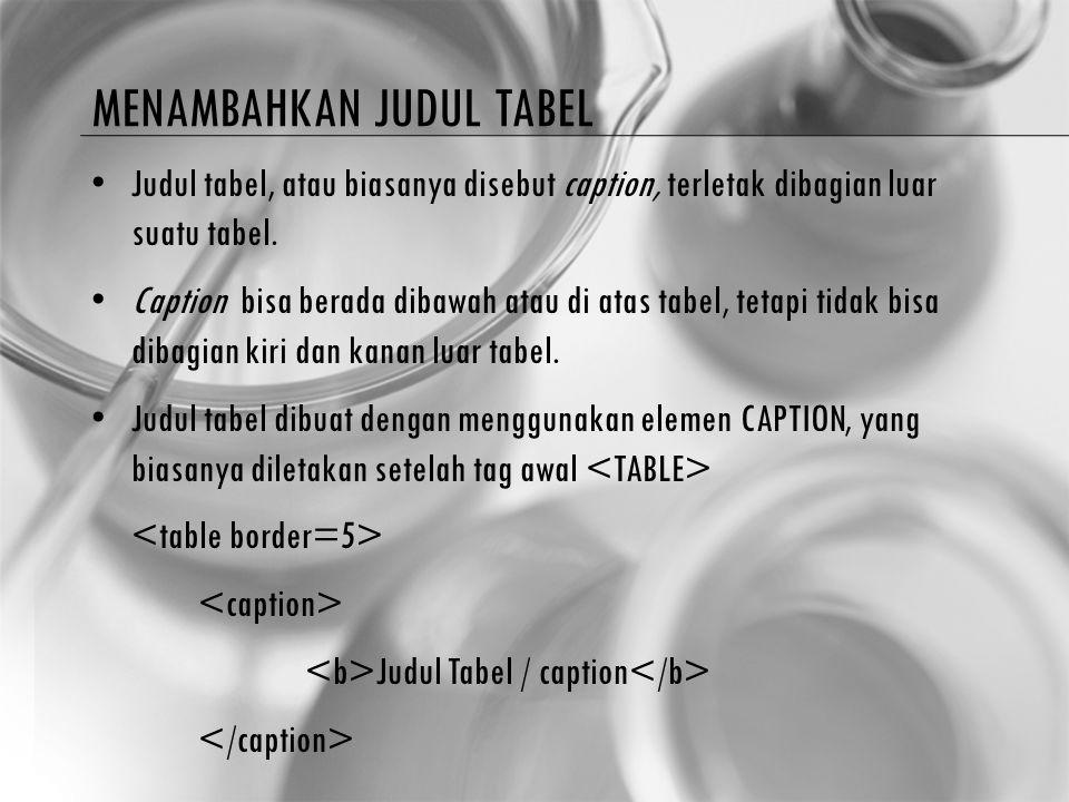 Menambahkan judul tabel